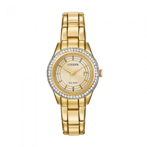 FE1122-53P Citizen Watch Stainless Steel Gold Plated Eco-drive Swarvski Crystal Bezel